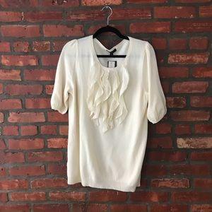 NWT Ann Taylor Cashmere Ruffle Sweater cream L